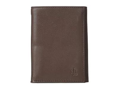 LAUREN Ralph Lauren Burnished Kid Trifold Wallet (Brown) Wallet Handbags
