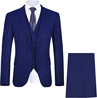 Men's Pinstripe 3 Piece Suit Slim Fit Elegant Single Breasted Business Wedding Party Blazer Vest& Pants Set