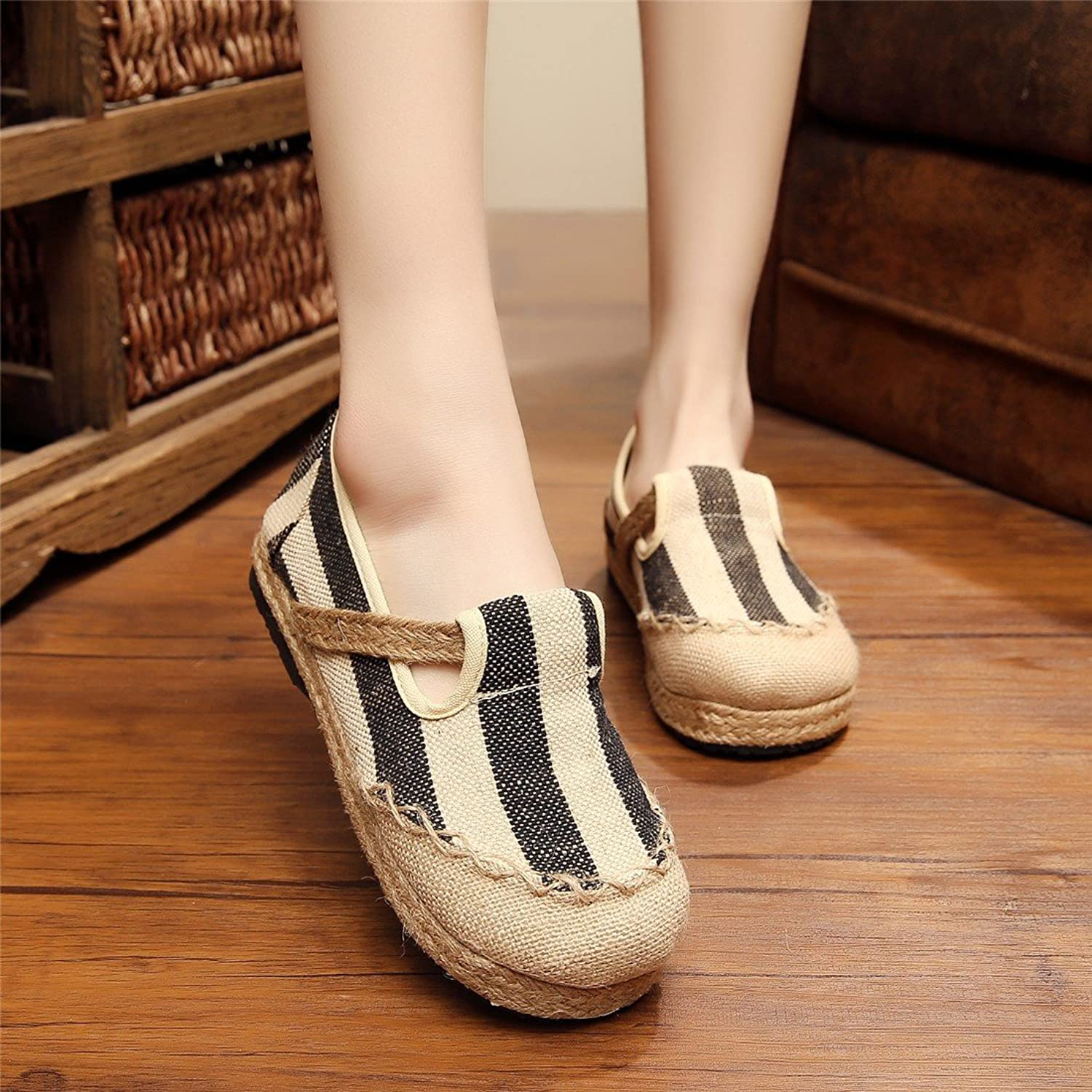 Cotton and Linen shoes Comfortable College Wind The Wind Canvas shoes-YU&Xin