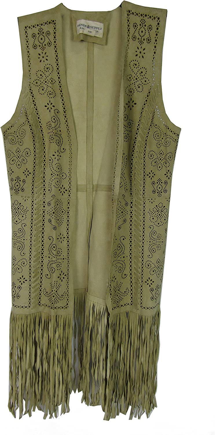 Denim & Supply Ralph Lauren Womens Suede Fringe Casual Vest Taupe S