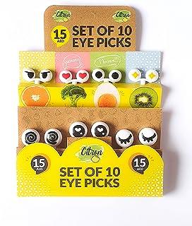 Citron Set of 10 Cartoon Eye Picks