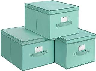 SONGMICS Juego de 3 Cajas Plegables de Alcon Tapas Cubos de Tela con Portaetiquetas 40 x 30 x 25 cm Verde RFB03GN