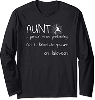 Funny Halloween Aunt Definition Outfit Cool Spider Design Long Sleeve T-Shirt