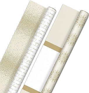 Hallmark Reversible White and Gold Wrapping Paper - Bulk (2 Jumbo Rolls: 160 sq. ft. ttl)