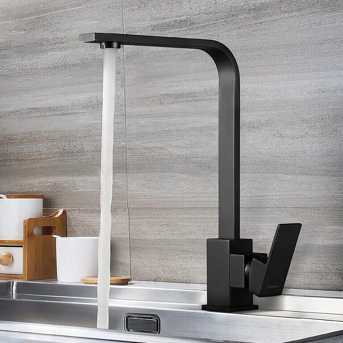 Grifo de Cocina y Lavabo Baño Universal Diseño 2021 Grifo Negro Monomando Acero Inoxidable SUS304 Resistente a Corrosión sin Fugas