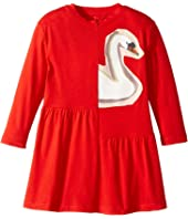 Stella McCartney Kids - Zelma Drop Waist Dress w/ Printed Swan (Toddler/Little Kids/Big Kids)