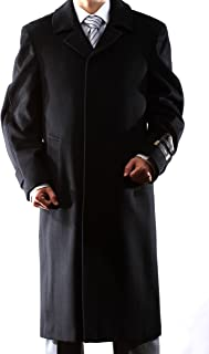 Men's Single Breasted Black Luxury Wool/Cashmere Full Length Winter Topcoat