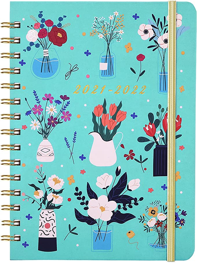 Diary 2021-2022 - A5 Academic Diary Week to View, July 2021 - June 2022, Monthly Tabs, Inner Pocket, Elastic Closure, Thick Paper, Spiral Binding