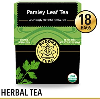 Organic Parsley Leaf Tea, 18 Bleach-Free Tea Bags – Caffeine Free, Source of Vitamins, Minerals, and Essential Nutrients, No GMOs – Soothes Indigestion and Supports Kidney Function and Detoxification