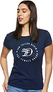 Tom Tailor Women's Basic Loose Crew Neck Short Sleeve T-Shirt, Blue (Real Navy Blue 10360), Small