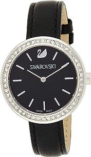 Swarovski Women's Quartz Watch, Analog Display and Leather Strap 5172176, Black Band