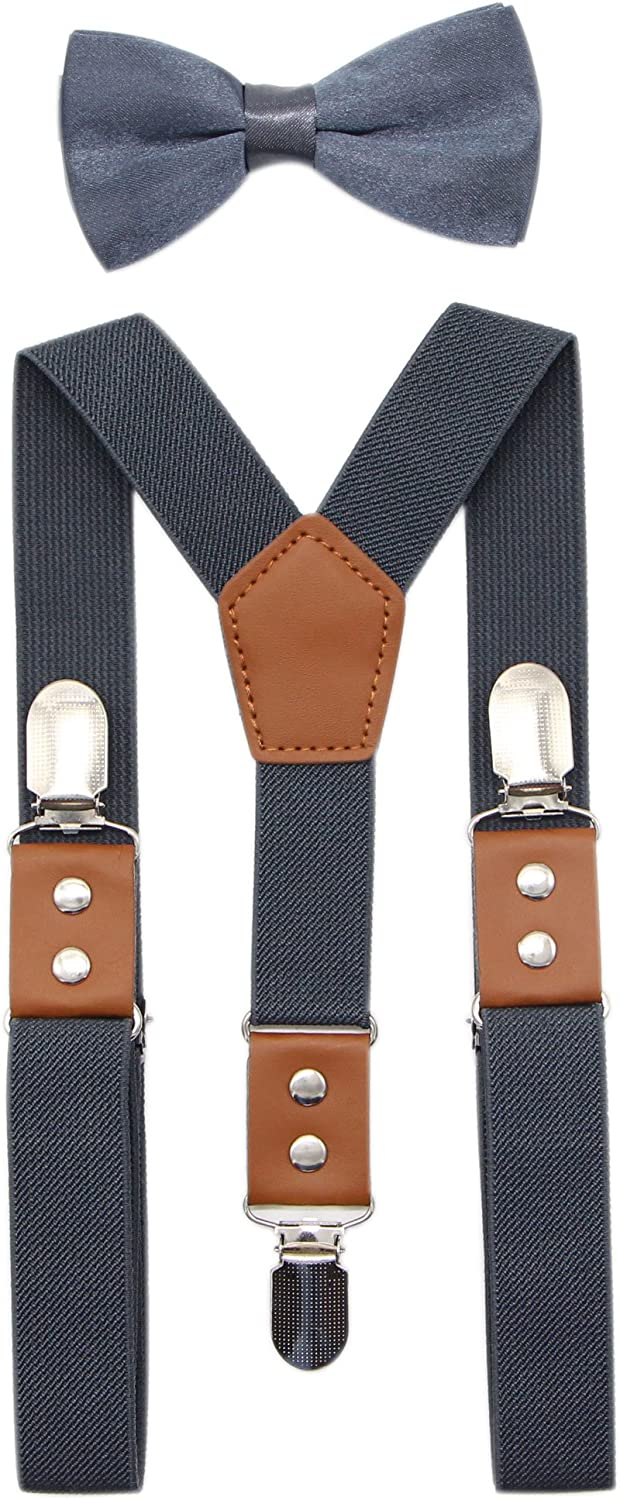 JAIFEI Suspender & Bowtie Set For Men & Boys Durable Clips & High End PU Leather