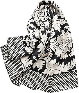 黑白真丝斜纹绸大方尽女春秋桑蚕丝丝ぷ复古花朵杭州丝绸围包
