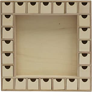 Wooden Advent Calendar with Drawers, Unfinished Shadow Box Shape, DIY Advent Calendar to Decorate, Pre Assembled, 13 Inch by 13 Inch, by Woodpeckers