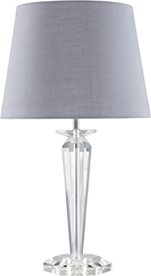 Modern Clear Genuine K9 Crystal Base Table Lamp with a Grey Tapered Shade - Complete with a 6w LED GLS Bulb [3000K Warm White]