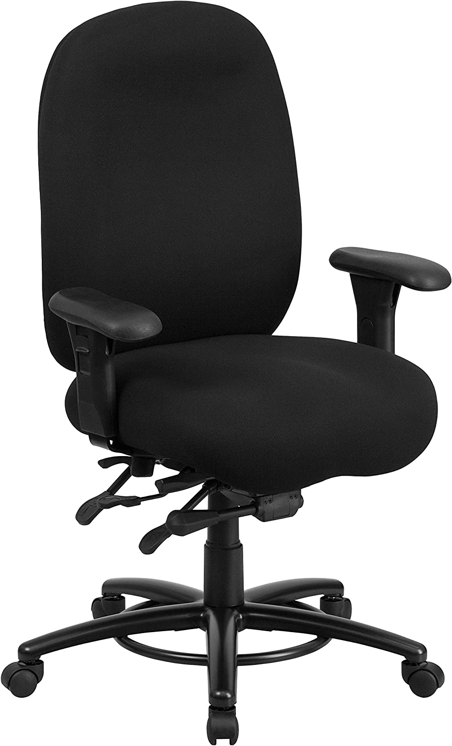 Flash Furniture HERCULES Series 24 7 Intensive Use Big & Tall 350 lb. Rated Black Fabric Multifunction Swivel Chair with Foot Ring