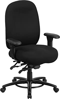 Flash Furniture HERCULES Series 24/7 Intensive Use Big & Tall 350 lb. Rated Black Fabric Multifunction Ergonomic Office Chair - Foot Ring