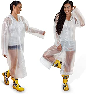 Eastern Canyon Clear Rain Poncho for Adults Clear Poncho with Hood- Pack of 2 Adult Raincoats-Waterproof Protective Reusab...