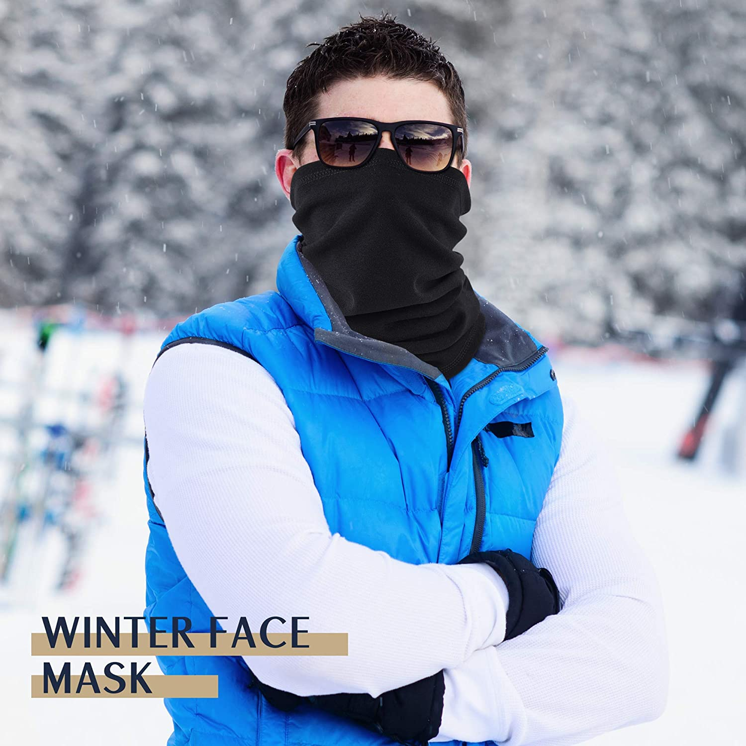 EXski Winter Neck Gaiter Warmer, Soft Fleece Face Mask Scarf for Cold Weather Skiing Cycling Outdoor Sports 1 Pack