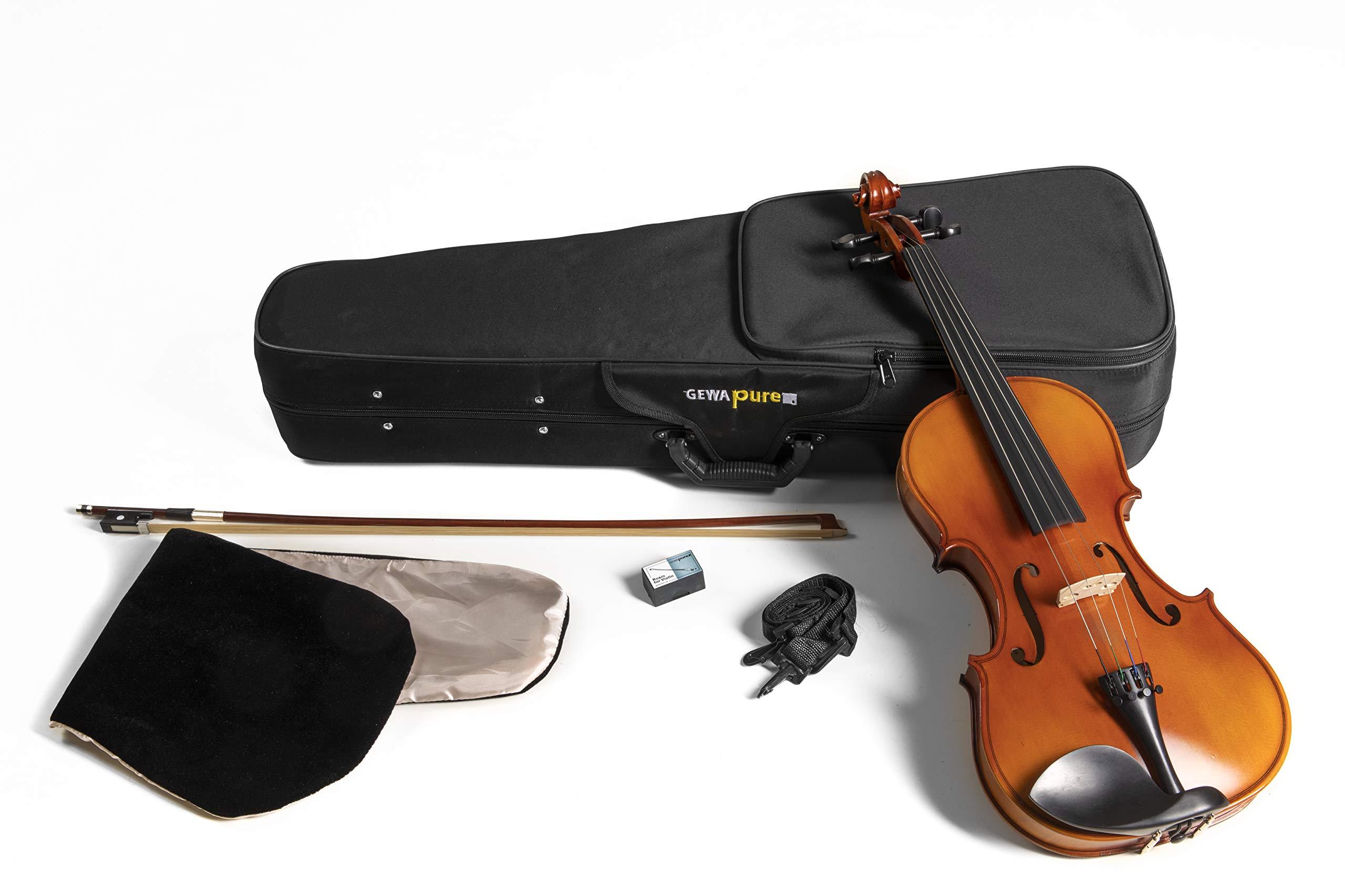 GEWApure Viola Set EW Ebano 38,2 cm Montado con Barbada, Cordal con microafinador, Arco, Resina, Estuche con Bandolera: Amazon.es: Instrumentos musicales
