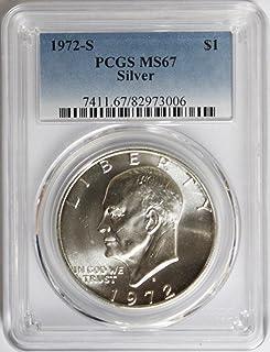 1972 S 40/% Silver Eisenhower Ike Dollar $1 MS67 PCGS