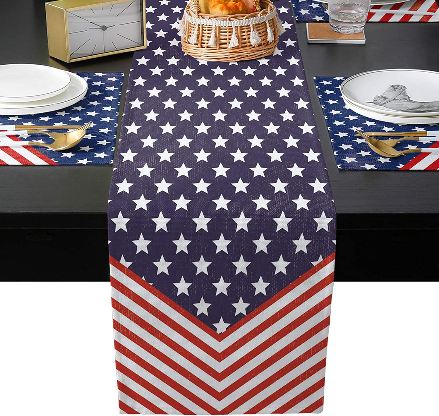 EZON-CH Table Runner with 4 Day Super intense SALE American Placemats Independence Superlatite
