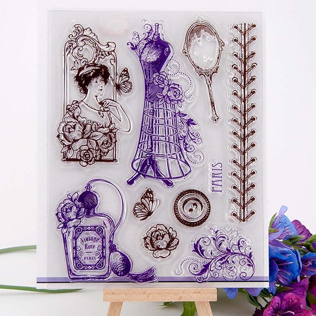 なる中級連結する装飾とDIYスクラップブックを作るカードの工芸時計/女性/タグクリアスタンプ C