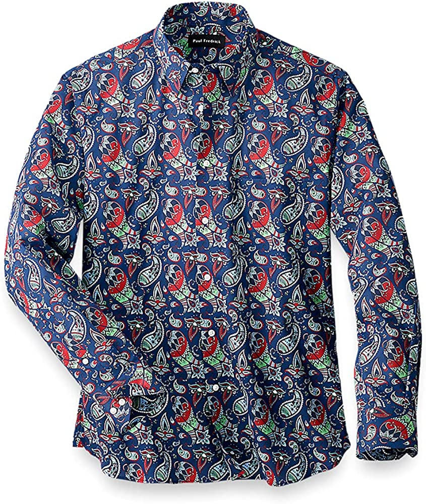 Paul Fredrick Men's Easy Care Cotton Paisley Casual Shirt, Navy/Gold