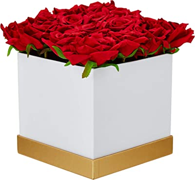 Fourwalls Artificial Rose Flowers in a Box for Valentines Day Gift (25 Flower in Box, 20 cm Tall, White and Red)