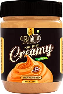Habinut Natural Unsweetened Creamy Peanut Butter - 410 gm | Rich in Antioxidants | High Source of Protein with 100% Fresh ...