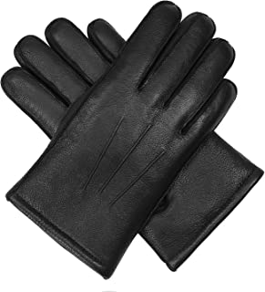 Men's Winter Genuine Leather Glove - Isilila 100% Leather Fur Lining Warm Soft Wool Driving Gloves
