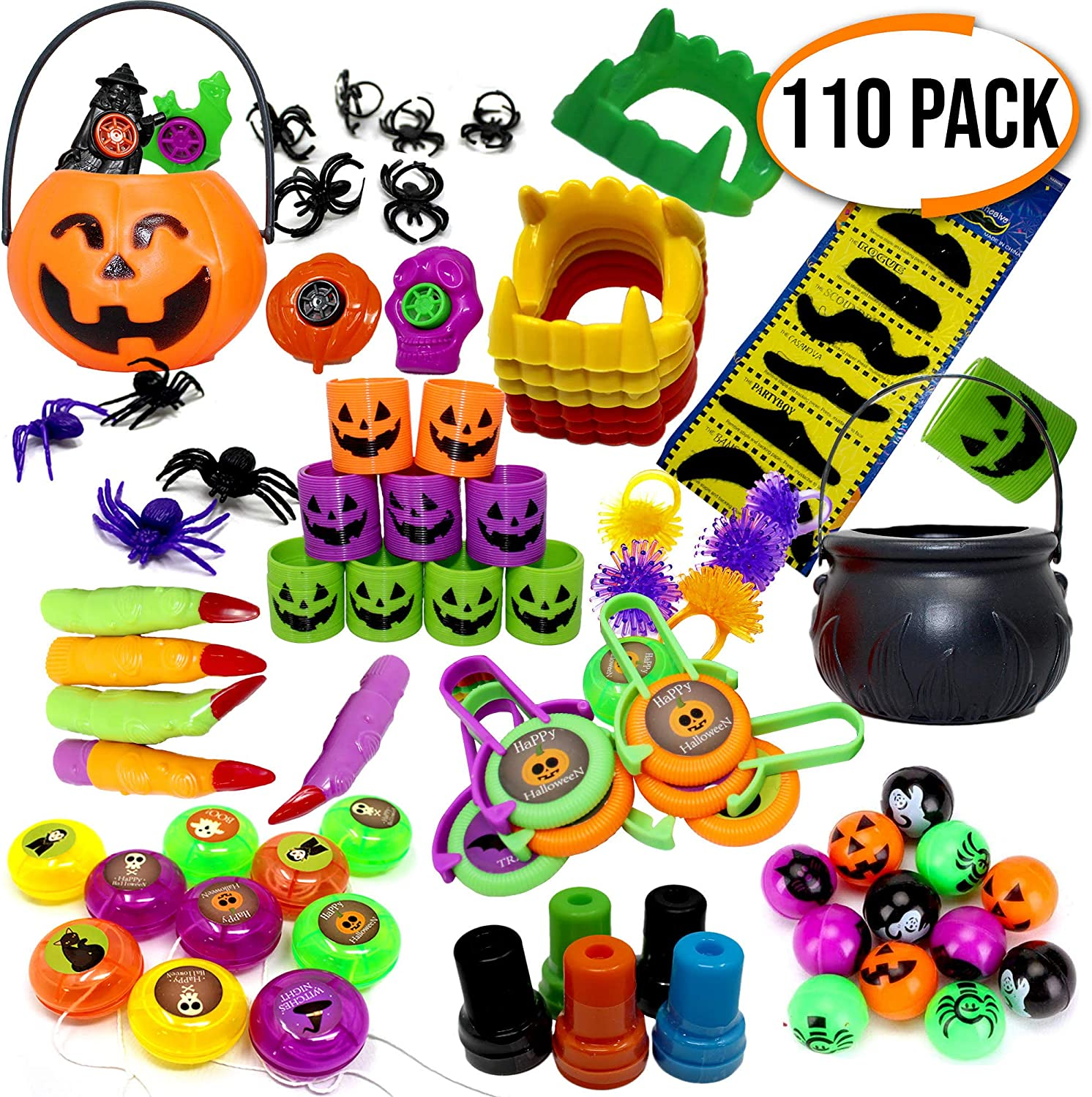 The Twiddlers Set of 110 Halloween Themed Party Toys  Perfect for Party Favours  Pinatas  Birthday & Halloween Parties  Christmas Etc