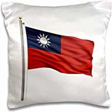 3D Rose Taiwan On A Flag Pole Over White Taiwanese Design Pillowcase, 16 x 16