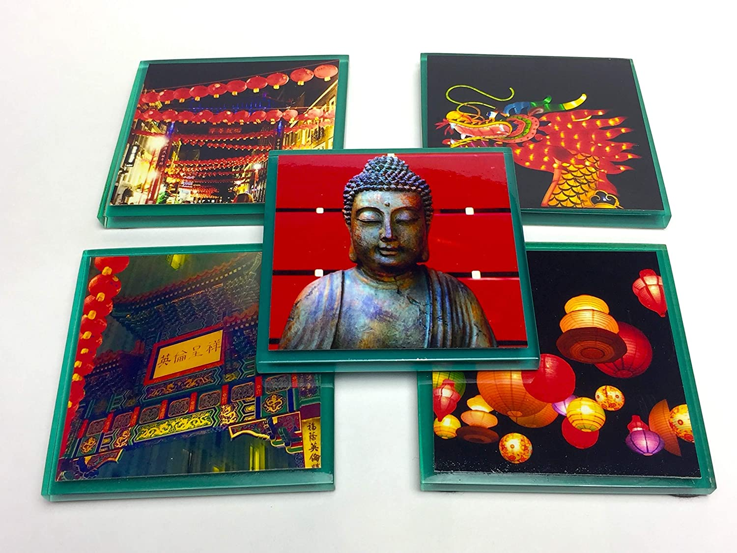 Asian Themed Opening large release sale Coasters Handmade Photo Surprise price Buddha Glass