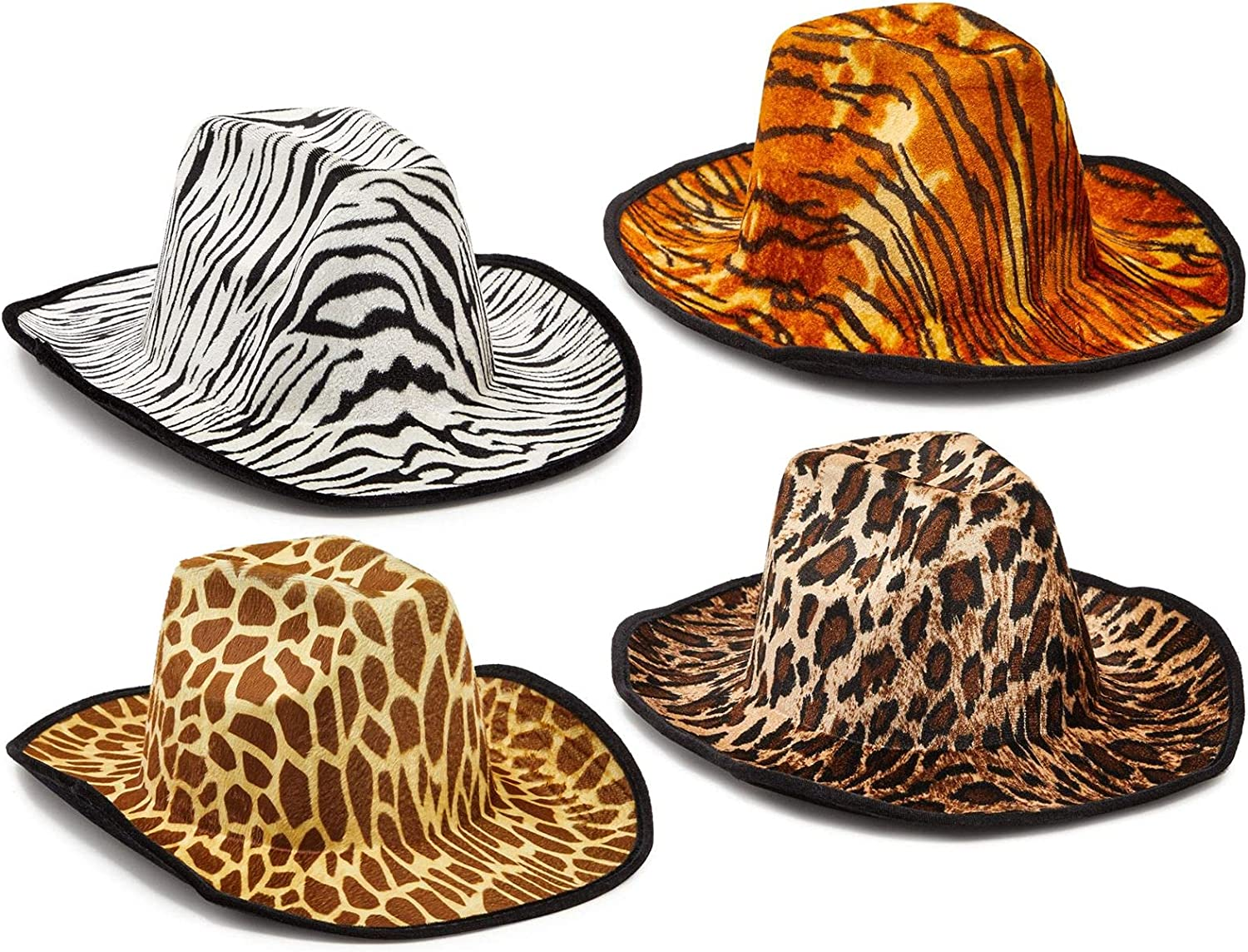Zodaca Safari Cowboy Party Hats for Adults, Jungle Costume Accessories (One Size, 4 Pack)