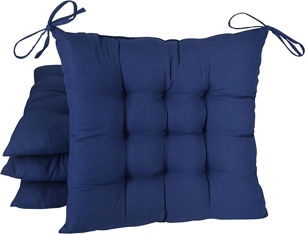 FlyGulls Chair Cushion 4 Pack Cotton Padded Thicken Squared Chair Pads Home Decoration Navy