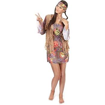 Disfraz de hippie mujer Única: Amazon.es: Juguetes y juegos