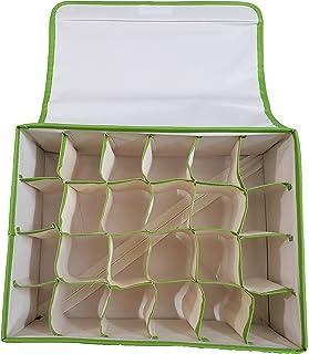 Inditradition Foldable Non-Woven Cloth 24 Shelf Wardrobe Storage Organizer, (31x24x12 cm, Green)