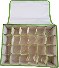 Inditradition Foldable Non-Woven Cloth 24 Shelf Wardrobe Storage Organizer, (31x24x12 cm, Green)
