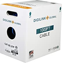 Cat6e Riser (CMR) 1000FT, UTP (Unshielded Twisted Pairs) 24AWG Solid, Bare Copper, 600MHz, ETL Verified, Bulk Ethernet Cable, Blue by Digilink Global