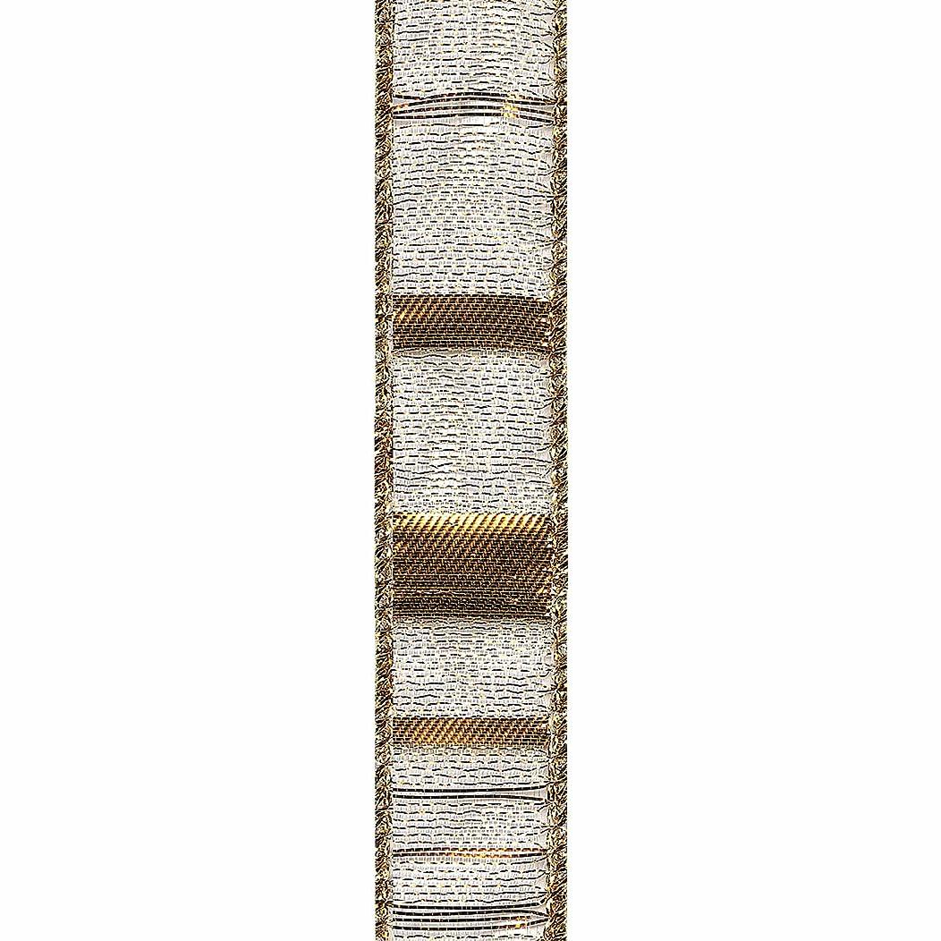 Offray Metallic Sheer Ladder Craft Ribbon, 7/8-Inch x 9-Feet, Gold