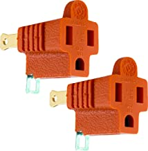 GE Polarized Grounding Adapter 2 Pack, Turn 2-Prong Outlets to 3-Prong Outlets, Outlet Adapter, Easy to Install, Indoor Only, UL Listed, Orange, 14404