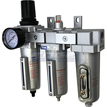 """3 STAGE, HEAVY DUTY INDUSTRIAL GRADE FILTER REGULATOR COALESCING DESICCANT DRYER SYSTEM FOR COMPRESSED AIR LINES, METAL BOWLS, GREAT FOR PAINT SPRAY AND PLASMA CUTTER (3/4"""" NPT, AUTO DRAIN)"""