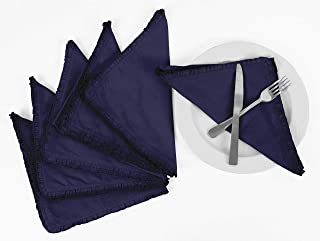 Vargottam Dark Blue Home Décor Parties Dinner Table Linen Re-Usable Napkins Set-Pack of 12