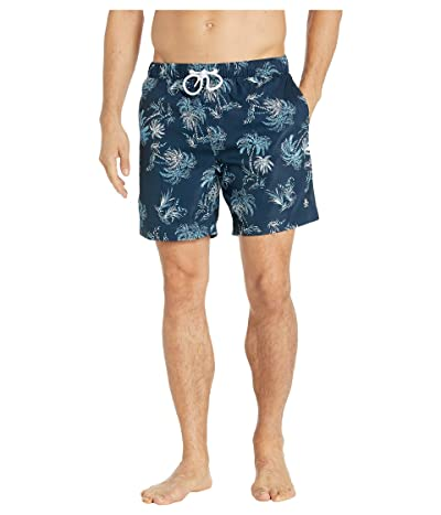 Original Penguin Palm Tree Fixed Stretch Swim Shorts (Dark Sapphire) Men