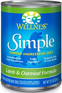 Wellness Simple Natural Wet Canned Limited Ingredient Dog Food, 12.5-Ounce Can (Pack Of 12)
