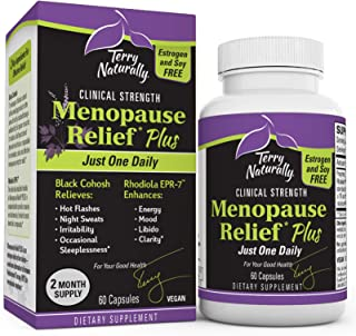Terry Naturally Menopause Relief Plus - Rhodiola & Black Cohosh Complex, 60 Vegan Capsules - Hot Flash & Night Sweat Relie...