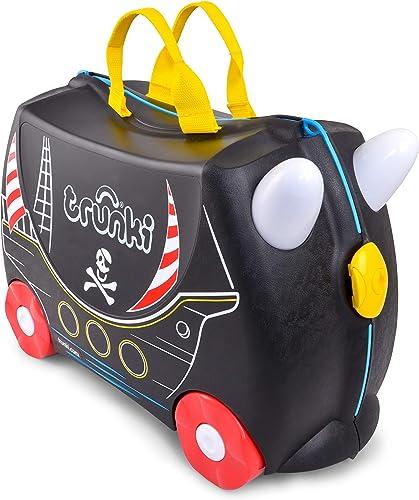Trunki Valise Enfant à Roulette à Chevaucher et Bagage Cabine - Vehicules: Pedro le Bateau Pirate (Noir)