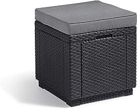 """""""Allibert by Keter"""" kruk met opbergruimte Cube w/cushion, grafiet/cool grijs, incl. kussens, met opbergruimte, deksel afne..."""