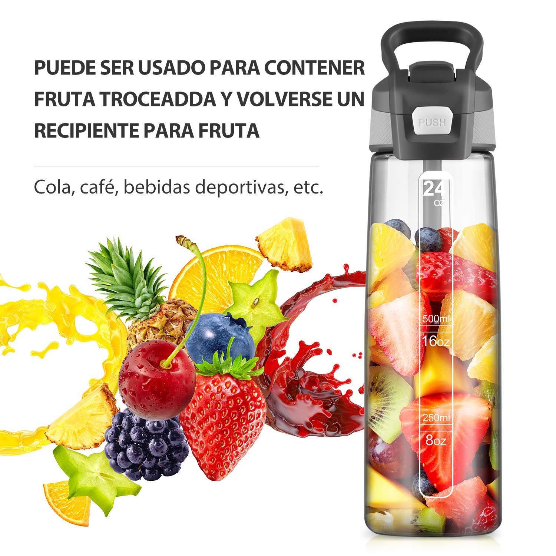 Newdora Botella de Agua Deportes 750ml, Botella Agua Niños Sin BPA, con Pajita, Cepillo de Limpieza y Tapón a Prueba de Fugas, Botella Agua Deportiva para Niños, Adultos, Sport, Gimnasio, Trekking: Amazon.es: